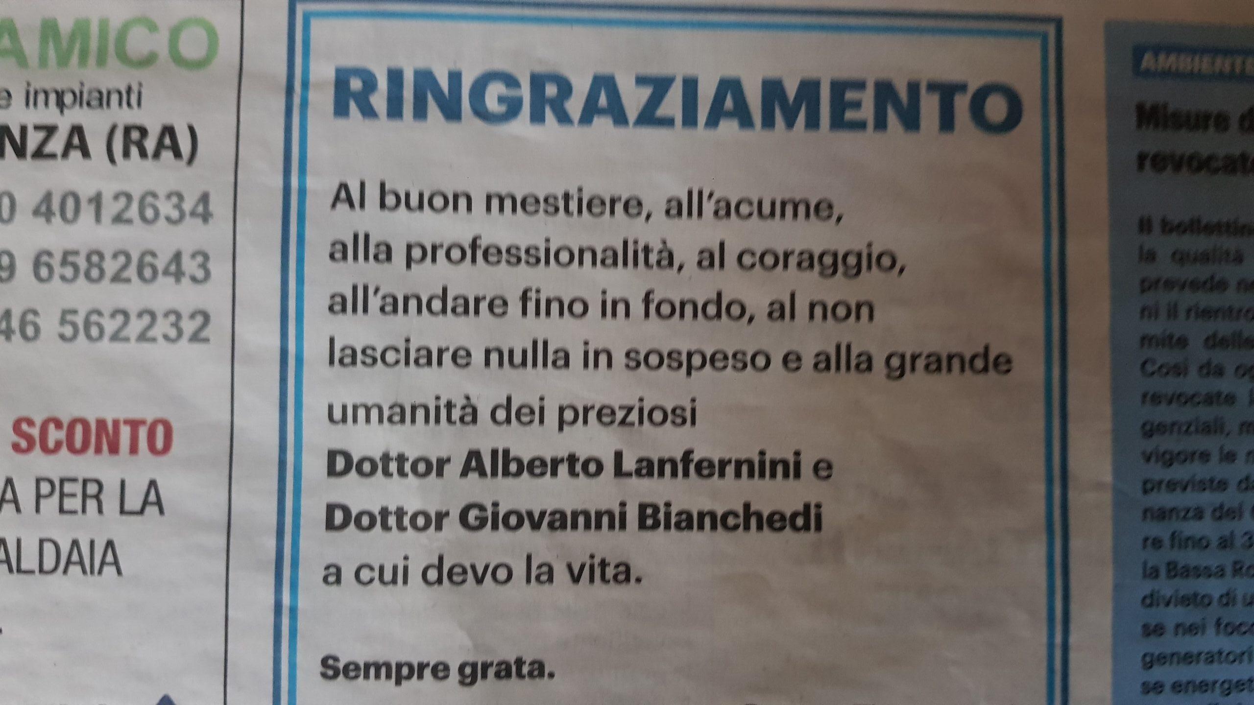 ringraziamento Carlino Faenza Dot. Lanfernini Oculista Faenza Dot. Bianchedi